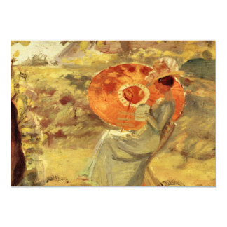 Garden lady with umbrella painting art Anna Ancher 5x7 Paper Invitation Card