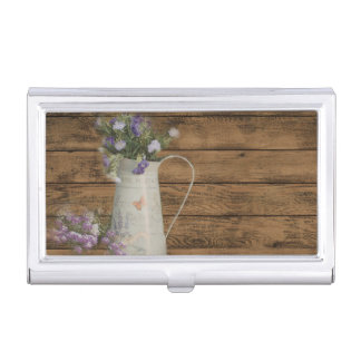 garden lavender rustic country barn wood business card holder
