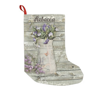 garden lavender rustic country barn wood small christmas stocking