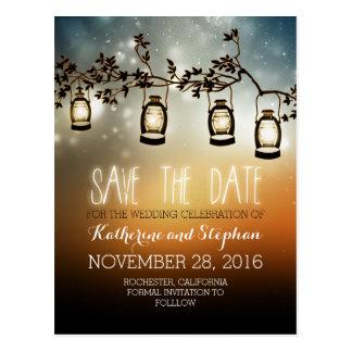 garden lights - lanterns rustic save the date postcard