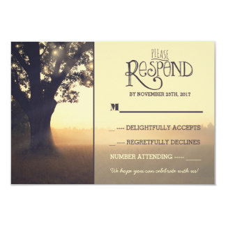 "Garden lights tree rustic wedding RSVP 3.5"" X 5"" Invitation Card"