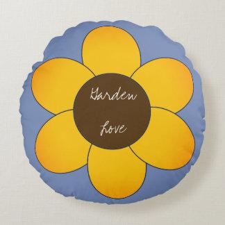 Garden-Love_Sunflower-Blue_Round Round Pillow