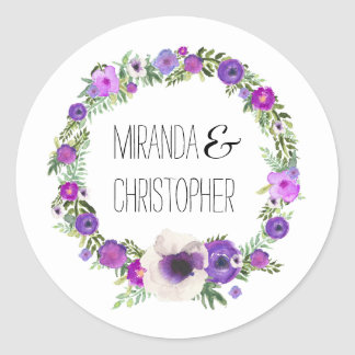 Garden Love Wreath Personalized Wedding Sticker