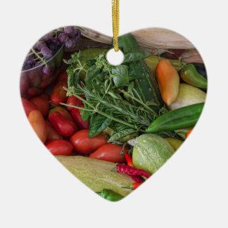 Garden Medley Ceramic Heart Ornament