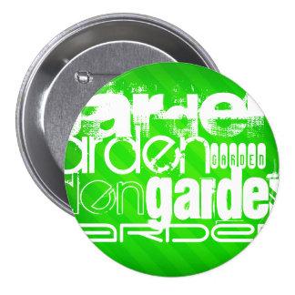 Garden; Neon Green Stripes 3 Inch Round Button
