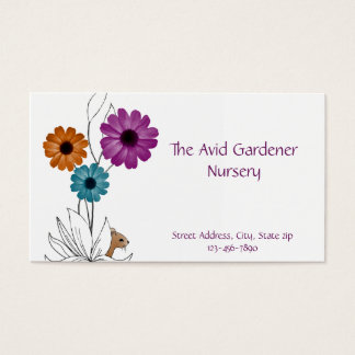 Garden Nursery with Flowers and Mouse Business Card