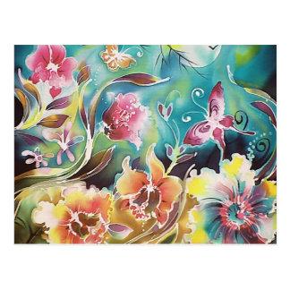 Garden Of Flowers and Butterflies Postcard