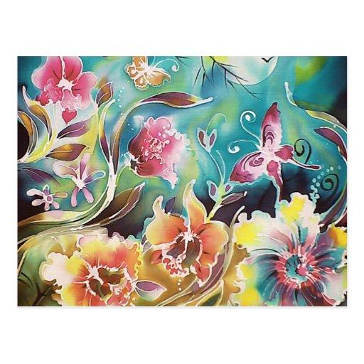 Garden Of Flowers and Butterflies Post Cards