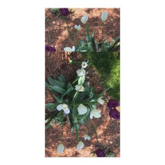 Garden of snow white tulip flowers card