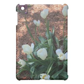 Garden of snow white tulip flowers iPad mini cases