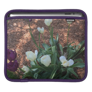 Garden of snow white tulip flowers iPad sleeve