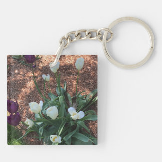 Garden of snow white tulip flowers keychain