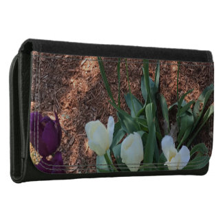 Garden of snow white tulip flowers leather wallets