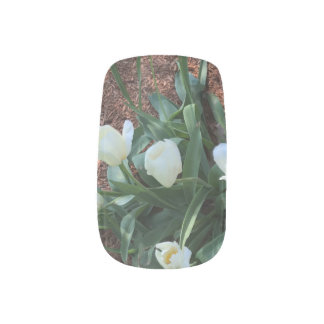 Garden of snow white tulip flowers minx nail art
