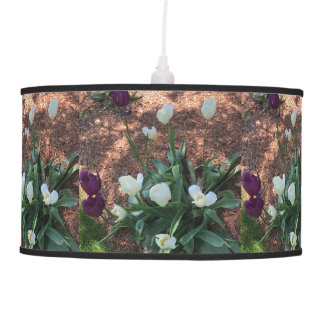 Garden of snow white tulip flowers pendant lamp