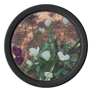 Garden of snow white tulip flowers poker chip set