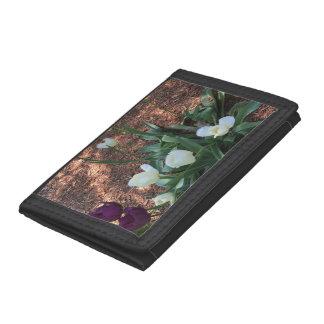 Garden of snow white tulip flowers trifold wallet