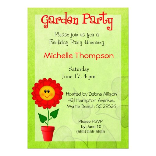 Garden Party  Birthday Invitations