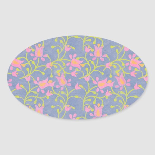 Garden Party Blue Grey Oval Sticker