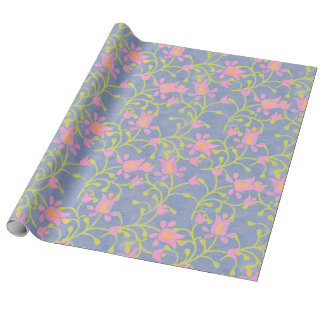 Garden Party Blue Grey Wrapping Paper
