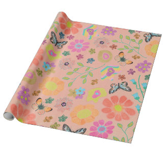Garden Party Floral Salmon Wrapping Paper