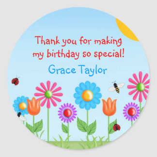 Garden Party Ladybug Birthday Stickers