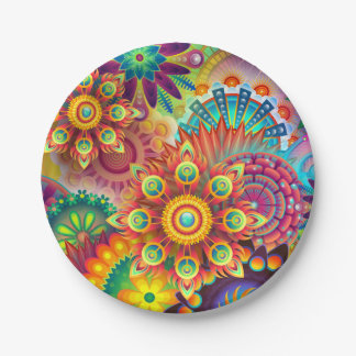 Garden Party Paper Plate Bright Floral In 2 Size 7 Inch Paper Plate