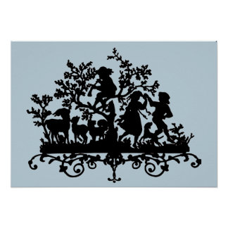 Garden Party Silhouette On Blue Poster