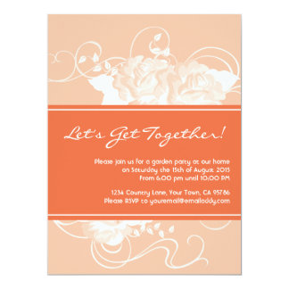 Garden Party Tangerine Floral Invitations