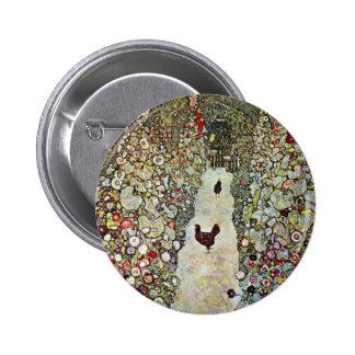 Garden Path w Chickens, Gustav Klimt, Art Nouveau 2 Inch Round Button
