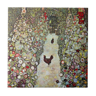Garden Path w Chickens, Gustav Klimt, Art Nouveau Ceramic Tile