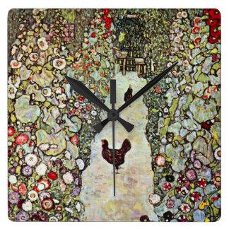 Garden Path w Chickens, Gustav Klimt, Art Nouveau Square Wall Clock