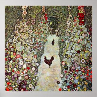 Garden Path with Chickens by Gustav Klimt Poster