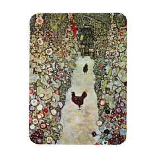 Garden Path with Chickens, Klimt, Art Nouveau Rectangular Photo Magnet