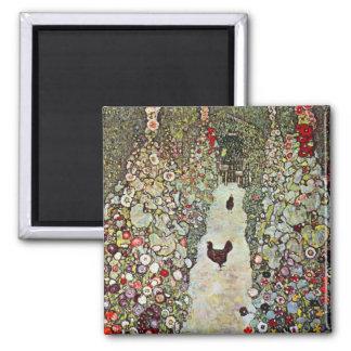 Garden Path with Chickens, Klimt, Art Nouveau Square Magnet