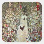 Garden Path with Chickens, Klimt, Art Nouveau Square Sticker