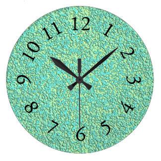 Garden-Pebbles-Lime-Turquoise -Clock Large Clock