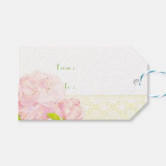 Garden Pink Peony n Lace Pattern Wedding Gift Tags