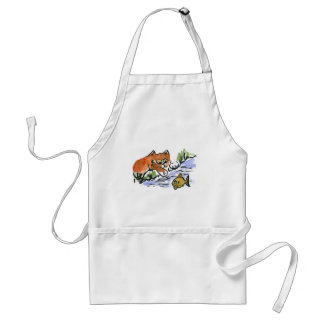 Garden Pond and Curious Kitten Standard Apron