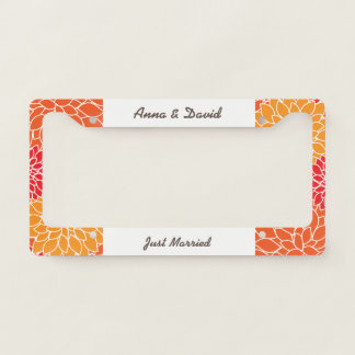 Garden Red and Yellow Flowers. Just Married! License Plate Frame