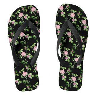 Garden Rose on Black Shower Shoes FlipFlops