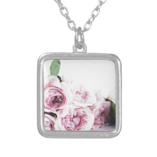 Garden roses silver plated necklace
