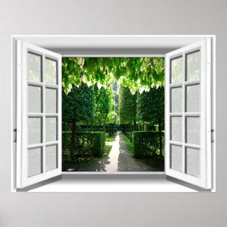 Garden Scene Fake Window View 3D Poster