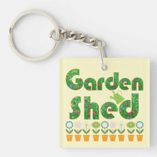 Garden Shed Double-Sided Square Acrylic Keychain