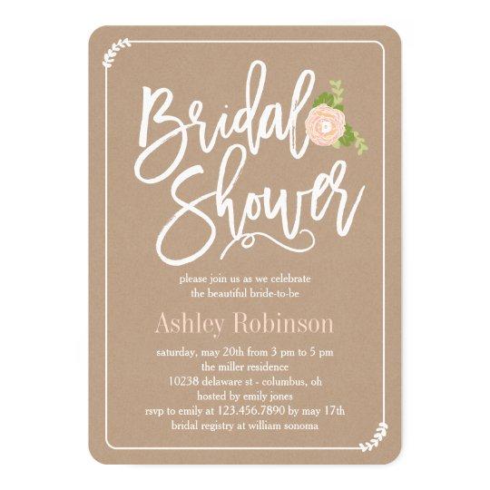 Garden Shower Bridal Shower Invitation Kraft