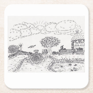 Garden Sketch Square Paper Coaster