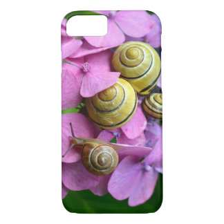 Garden Snails on Pink Flowers iPhone 7 Case