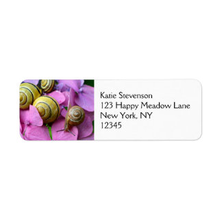 Garden Snails on Pink Flowers Return Address Label