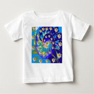 GARDEN  SPIRAL &  DAFFODILS IN BLUES BABY T-Shirt