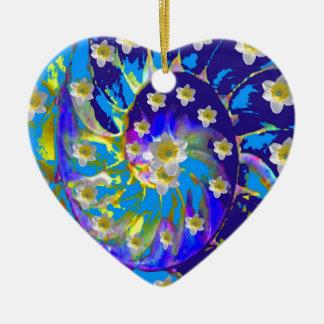 GARDEN  SPIRAL &  DAFFODILS IN BLUES CERAMIC ORNAMENT